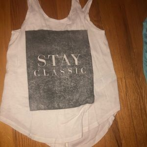 """White tank top """"stay classic"""""""